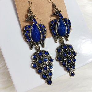 Jewelry - Blue Bohemian Peacock Gemstone Drop Earrings